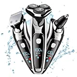 HATTEKER Mens Electric Shaver Razor Beard Trimmer Rotary Shaver Cordless Sideburn Trimmer Nose Trimmer Wet Dry Shaver Waterproof USB Rechargeable 3 in 1