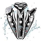 HATTEKER Rasoir Hommes Électrique Rotatif Tondeuse À Barbe Enlever Poils Nez Oreilles Sans Fil Rechargeable USB Classique Imperméable Noir 3 En 1