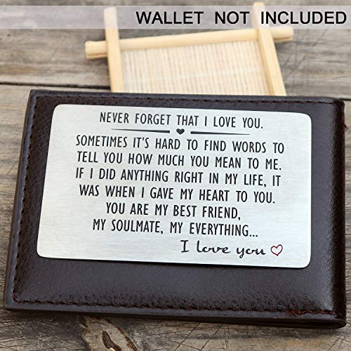 Anniversary Gifts for Men or Women – Never Forget That I Love You, Engraved Wallet Insert for Boyfriend Husband Him, Birthday Wedding Deployment Gifts Cards for Couples