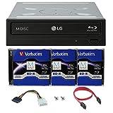 LG WH16NS40 16X Blu-ray BDXL DVD CD Internal Burner Drive Bundle with Free 3pk 25GB M-DISC BD + SATA Cable + Mounting Screws