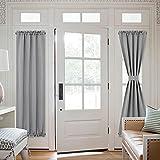 NICETOWN French Door Curtain Panel - Energy Efficient Patio Door Shades Rod Pocket Room Darkening Glass Door Blind (25W by 72L inches, Silver Grey, Single Panel)