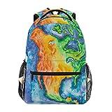 RUNE HALI50ME School Backpack, America Map Print Waterproof Lightweight Lage Bag for School Travel Women Men Girl Boy