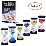 Angel Genius Sand Timers for Kids, Hourglass for Classroom, 1 3 5 10 15 30 Minutes, Colorful Timers, Preschool Learning Toys for Teachers, Sensory Toys, Toothbrush Hour Glass (Pack of 6)