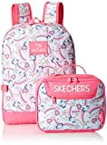 Skechers Kids Girls' Little Fushion Combo Backpack, Blue/Pink, Youth Size