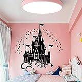 Castillo de dibujos animados pegatinas de pared de vinilo bajo las estrellas calcomanías de pared del castillo mandala yoga flor decoración de la pared mural