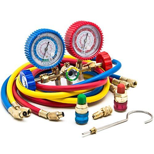 Biltek HVAC R12 R22 R502 A/C Diagnostic Manifold Gauge Kit w/Quick Coupler High/Low