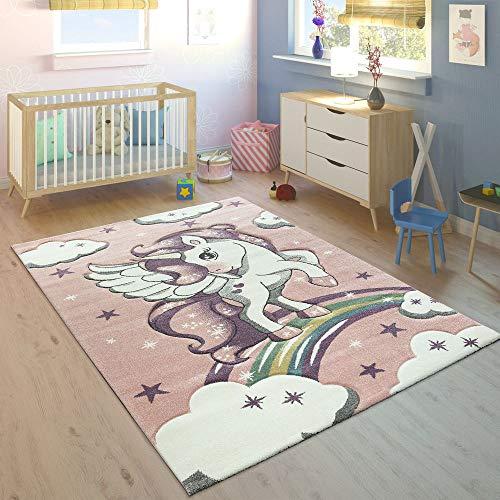 Paco Home Tappeto per Bambini Arcobaleno Unicorno Pastello Rosa, Dimensione:120x170 cm