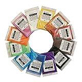 VITORY Pigment énorme mica en poudre powder set effet métallique pour résine époxy - fabrication de savon kit (12 couleurs 10g / 0,35 oz) fournitures...