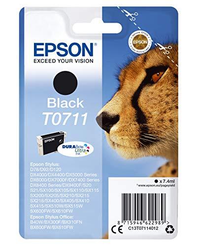 Epson T071 Serie Ghepardo, Cartuccia Originale Getto d'Inchiostro DURABrite Ultra, Formato Standard, Nero, con Amazon Dash Replenishment Ready