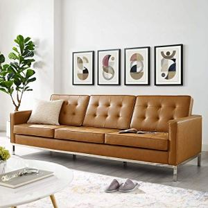 Modway Loft Tufted Button Faux Leather Upholstered Sofa in Silver Tan