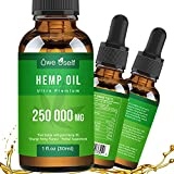 Hemp Oil 250 000 mg Extract for Pain Relief, Anxiety & Stress Relief, Pure Extract, Vegan Friendly, Helps with Skin & Hair, Relaxation, Better Sleep,Orange Hemp Flavor