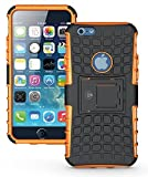 Cable And Case iPhone 6S Case, iPhone 6 Case [Heavy Duty] Tough Dual Layer 2 in 1 Rugged Rubber Hybrid Hard/Soft Impact Protective Cover [with Kickstand] Shipped from The U.S.A. - Orange
