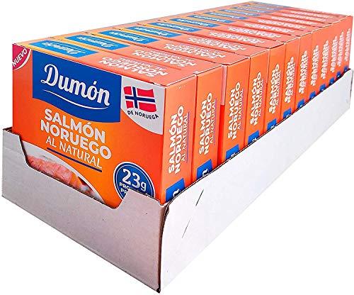 DUMON - NUEVO - 12 unidades de 160 gramos de Conservas de Salmón Noruego en Su Propio Jugo, Sin Espinas ni Piel. Pescado enlatado con OMEGA 3, sin gluten.