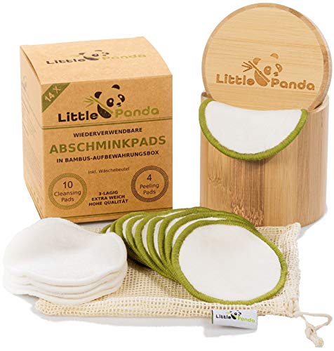 Little Panda waschbare Abschminkpads aus Bambus & Bio-Baumwolle | 14 wiederverwendbare Wattepads Bambus-Pads | nachhaltige Baumwollpads Make Up Pads inkl. hochwertige Bamboo Aufbewahrungsbox & Beutel