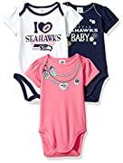 Officially licensed Comes with three short sleeve bodysuits Easily over baby's head with the expandable lap shoulder neckline Higher in front bottom snap closure makes changing quick and simple Glitter Screenprint art with shiny picot