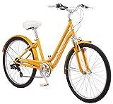 Schwinn Suburban Comfort Hybrid Bike, Featuring Low Step-Through Steel Frame and 7-Speed Drivetrain with 26-Inch Wheels, Small/16-Inch Frame, Orange, 16-Inch/Small Frame (S5483C)