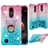 ZASE Design for LG Aristo 3 2 Plus Case, LG Tribute Empire Dynasty, LG Fortune 3 2, LG Rebel 4 3 LTE, LG Zone 4, Phoenix 4 Liquid Glitter Bling Clear Case w/Cute Phone Ring (Gradient Pink Aqua)