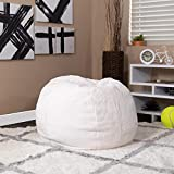 EMMA + OLIVER Small White Furry Bean Bag Chair for Kids and Teens