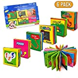 GuHeng Baby Soft Book Cloth —My First Soft Book , Nontoxic Fabric Baby Cloth Activity Crinkle Soft Books for Infants Boys and Girls Early Educational Toys (Pack of 6 )