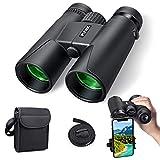 Jumelles pour Adultes, Jumelles compactes 10x42 HD avec Support de Smartphone pour l'observation des Oiseaux, Le Camping, la randonnée pédestre-BAK4 Prism FMC avec Jumelles à Sangle