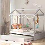 Harper & Bright Designs House Bed Daybed with Trundle , Twin Size House Bed Frame and Roof, Twin Trundle Daybed for Kids, No Box Spring Needed