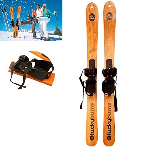 GWSPORT Sci da Neve in Legno Massiccio, Tavola da Snowboard Professionale Sci da Slitta Bambino...