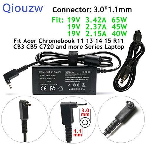 65W 19V 3.42A Adapter Charger Power Cord for Acer Chromebook 15 14 13 11 R11 CB3 CB5 C720 C720p C740 C910,Acer Aspire P3 P3-131 R14 R5-471T S7 S7-191 S7-391 S7-392 Iconia W700 Tablet AO1-131 AO1-431