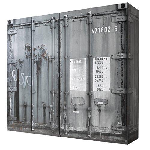 Stella Trading Container 4-türiger Kleiderschrank, Holz, GRAU, 59 x 237 x 224 cm