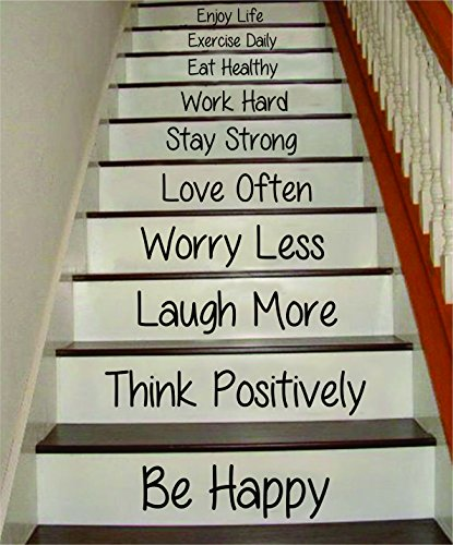 Boop Decals Be Happy Think Positively Stairs Quote Wall Decal Sticker Room Art Vinyl Joy Peace Fitness Healthy Family Home House Staircase Love Beautiful Inspirational