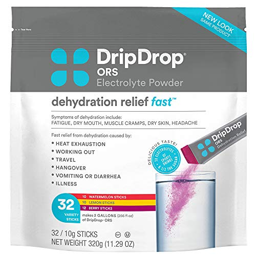 DripDrop ORS Electrolyte Hydration Powder Sticks Variety Pack (12 Lemon/10 Berry/10 Watermelon) 10g Sticks, 32 Count 1
