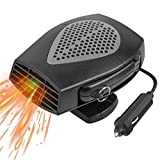 Car Heater, Portable Electronic Auto Heater Fan Fast Heating Defrost 12V 150W Car Defrost Defogger, 2 in 1 Heating/Cooling Function 3-Outlet, Plug Adjustable Thermostat in Cigarette Lighter(Black)
