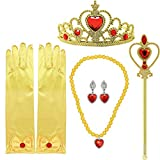 Tacobear Princess Dress up Accessories 5 Pieces Gift Belle Set for Girls Crown Scepter Necklace Earrings Gloves Yellow