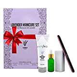 Beautyfrizz Lavender Nail Buffer Set - Manicure Set with 3-Sided Buffer, Cuticle Oil & Hand and Body Cream