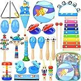Dkinghome Instrumentos Musicales para Bebés, 15 Tipos 22 Piezas Conjunto de Juguetes Musicales para Niños Pequeños de Madera, Regalo de Juguetes Educativos de Percusión