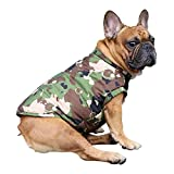 iChoue Dog Cotton Padded Coat Thick Winter Warm Vest Waistcoat Cold Weather Jacket Clothing for French Bulldog Pug Boston Terrier Puppy- Camouflage S