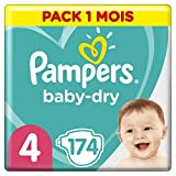 Pampers Baby Dry Couches Taille 4 (9-14 kg) - 174 Couches, Paquet 1 Mois...