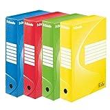 Esselte Boîte à Archive Standard, 80 mm, A4, Boîte Transfert, Carton Ondulé Sans Acide, Lot de 10, Capacité 600 Feuilles, Couleurs Assorties, 128403