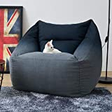 Bean Bag Chair (No Filler) Big Sofa with Soft Cotton Cover Sleeper Chair Storage Bean Bag Chair Cover Gaming Chairs Flexible Seating (Single, Black)