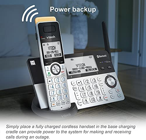 VTech IS8151-5 Super Long Range 5 Handset DECT 6.0 Cordless Phone for Home with Answering Machine, 2300 ft Range, Call Blocking, Bluetooth, Headset Jack, Power Backup, Intercom, Expandable to 12 HS 17