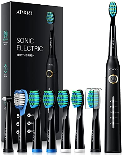 ATMOKO Electric Toothbrush with 8 Duponts Brush Heads, 5 Modes