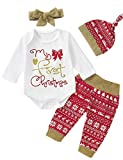 Shalofer 4PCS Newborn My First Christmas Outfit Baby Girls Xmas Gold Glitter Bodysuit with Hat and Headband (White,0-3 Months)