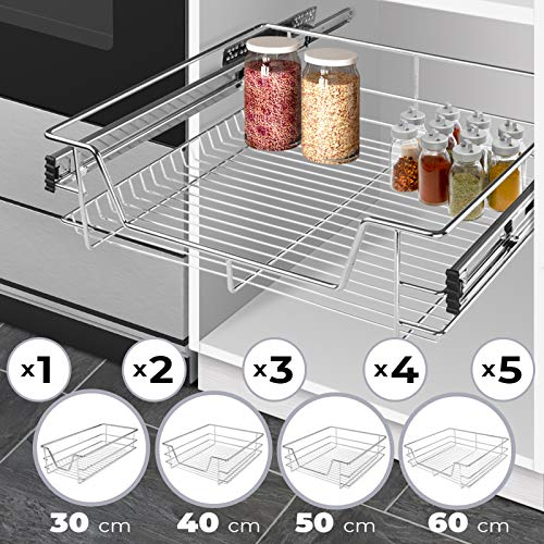 Cassetto Estraibile per Cucina - Set da 2, per 60cm, con Ripiano, per Armadio, Max. 20 kg, 56x44x14...