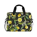 FELIZM - Funda para portátil con correa para el hombro, diseño de flores de limón
