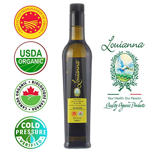 Louianna Certified Organic & P.D.O Extra Virgin Olive Oil -Produced our family estate located in Molise,Italy-500 ml-Organically Milled- Vitamin E 3.0 mg per tbsp -Polyphenols 0.75 mg per tbsp- Low Ac