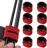 Borriem 8本 ロッドベルト 釣り竿バンド 釣り 固定用 保護ベルト 結びバンド (レッド) 釣具セットアクセサリ 固定用 収納用 マジックテープバンド 落下防止