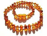 Collier Ambre 33cm. - 100% Plus Haute Qualite Certifie l'Ambre la Baltique Authentique Collier Perles. Amberta