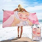 Lawenp Toalla de Playa de Secado rápido, Toallas de baño Ligeras de Microfibra con Estampado de niña Linda súper absorbentes para niños y Adultos de 31.5 'X63'