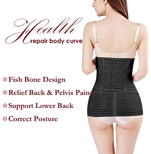 2 in 1 Postpartum Support Recovery Belly Wrap Waist/Pelvis Belt Body Shaper Postnatal Shapewear,Plus Size 6
