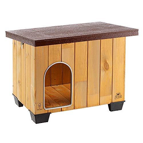 Ferplast Cuccia da esterno per cani BAITA 60 in legno FSC, Piedini isolanti in plastica, Porta con antimorso in alluminio, Tetto apribile