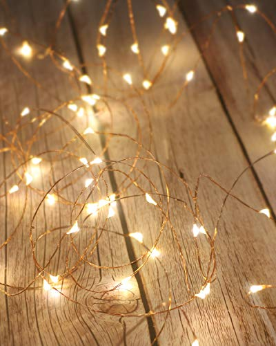 Litogo Luci LED Batteria, Catena Luminosa 5m 50 LED Fairy Light Filo Rame Ghirlanda Luminosa Lucine LED Decorative Waterproof per Camere da Letto Giardino Casa Feste Natale Matrimonio (Bianco Caldo)